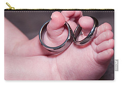 Baby Feet With Wedding Rings Carry-all Pouch