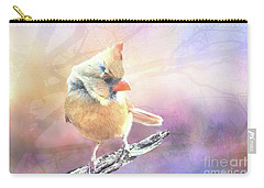 Baby Female Cardinal In Springtime Carry-all Pouch by Janette Boyd