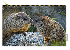 Baby Groundhogs Kissing Carry-all Pouch by Bob Orsillo