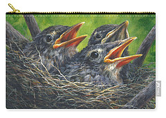 Carry-all Pouch featuring the painting Baby Robins by Kim Lockman