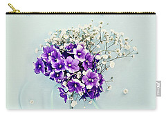 Baby's Breath And Violets Bouquet Carry-all Pouch