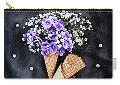 Baby's Breath And Violets Ice Cream Cones Carry-all Pouch