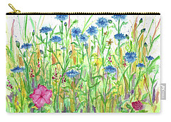 Carry-all Pouch featuring the painting Bachelor Button Meadow by Cathie Richardson