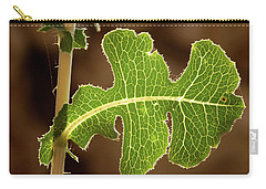 Carry-all Pouch featuring the photograph Back Side Light On A Leaf At Sunset by Yoel Koskas