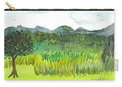Carry-all Pouch featuring the painting Backyard In Barton by Donna Walsh