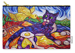 Carry-all Pouch featuring the painting Bad Kitty Gets Caught Again by Dianne  Connolly
