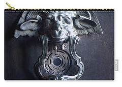 Carry-all Pouch featuring the photograph Bah Humbug Griffin Door Knocker by Suzanne Powers