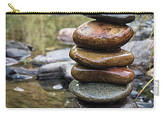 Balancing Zen Stones In Countryside River Vii Carry-all Pouch