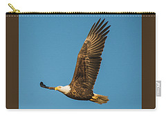 Carry-all Pouch featuring the photograph Bald Eagle Fly-by by Jeff at JSJ Photography