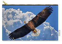Bald Eagle In Flight Calling Out Carry-all Pouch by Justin Kelefas