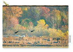 Carry-all Pouch featuring the photograph Bald Eagle Pair With Fish And Foliage by Jeff at JSJ Photography