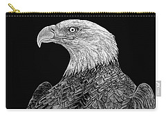 Bald Eagle Scratchboard Carry-all Pouch