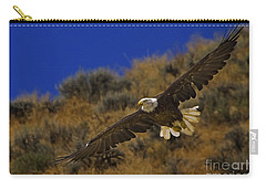 Carry-all Pouch featuring the photograph Bald Eagle Wing Spread-signed by J L Woody Wooden