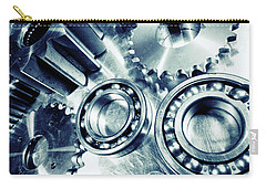 Carry-all Pouch featuring the photograph Ball-bearings And Cogs In Titanium by Christian Lagereek