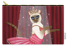 Carry-all Pouch featuring the painting Ballerina Cat - Dancing Siamese Cat by Carrie Hawks