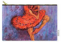 Carry-all Pouch featuring the painting Ballerina Dancing With A Fan by Xueling Zou