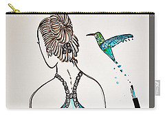 Carry-all Pouch featuring the painting Ballerina  Hummingbird Love by Jasna Gopic