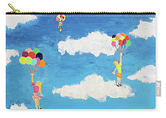Carry-all Pouch featuring the painting Balloon Girls by Thomas Blood