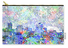 Carry-all Pouch featuring the painting Baltimore Skyline Watercolor 10 by Bekim Art