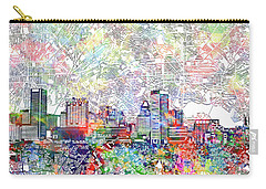 Carry-all Pouch featuring the painting Baltimore Skyline Watercolor 11 by Bekim Art