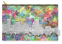 Carry-all Pouch featuring the painting Baltimore Skyline Watercolor 12 by Bekim Art