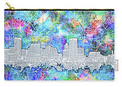 Carry-all Pouch featuring the painting Baltimore Skyline Watercolor 14 by Bekim Art