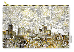 Carry-all Pouch featuring the painting Baltimore Skyline Watercolor 8 by Bekim Art