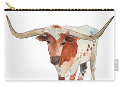 Texas Longhorn Bandero Watercolor Painting By Kmcelwaine Carry-all Pouch