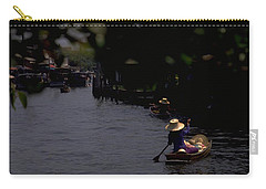 Carry-all Pouch featuring the photograph Bangkok Floating Market by Travel Pics