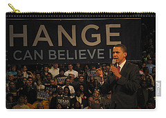 Carry-all Pouch featuring the painting Barack Obama Campaigning by Artistic Panda
