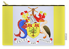 Carry-all Pouch featuring the drawing Barbados Coat Of Arms by Movie Poster Prints