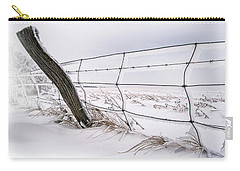 Barbed Wire And Hoar Frost Carry-all Pouch by Dan Jurak