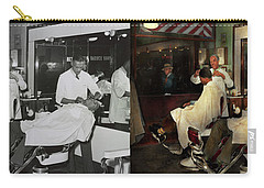 Carry-all Pouch featuring the photograph Barber - A Time Honored Tradition 1941 - Side By Side by Mike Savad