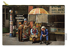 Carry-all Pouch featuring the photograph Barber - At Nelson's Barber Shop 1937 by Mike Savad