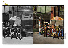 Carry-all Pouch featuring the photograph Barber - At Nelson's Barber Shop 1937 - Side By Side by Mike Savad