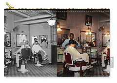 Carry-all Pouch featuring the photograph Barber - Senators-only Barbershop 1937 - Side By Side by Mike Savad