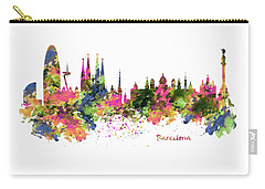 Barcelona Watercolor Skyline Carry-all Pouch by Marian Voicu