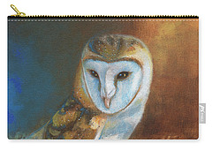 Carry-all Pouch featuring the painting Barn Owl Blue by Terry Webb Harshman