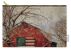 Barn With Flag In Winter Carry-all Pouch