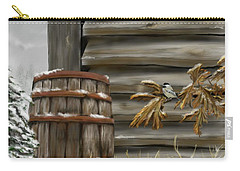Carry-all Pouch featuring the digital art Barnyard Barrel And Chickadee by Darren Cannell