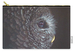 Carry-all Pouch featuring the drawing Barred Owl 2 by Laurianna Taylor
