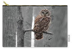 Barred Owl In Winter Woods #1 Carry-all Pouch