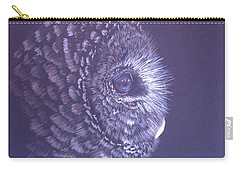 Carry-all Pouch featuring the drawing Barred Owl by Laurianna Taylor