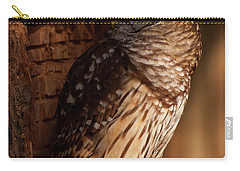 Carry-all Pouch featuring the digital art Barred Owl Sleeping In A Tree by Chris Flees