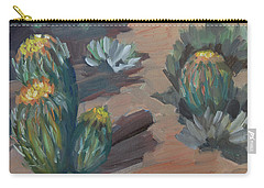 Carry-all Pouch featuring the painting Barrel Cactus At Tortilla Flat by Diane McClary