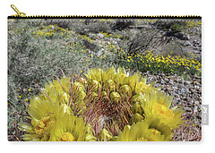 Carry-all Pouch featuring the photograph Barrel Cactus Super Bloom by Peter Tellone