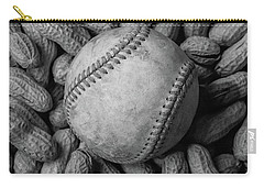 Carry-all Pouch featuring the photograph Baseball And Peanuts Black And White Square  by Terry DeLuco