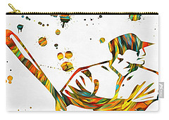 Baseball Player Paint Splatter Carry-all Pouch by Dan Sproul