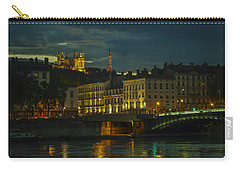 Carry-all Pouch featuring the photograph Basilica Notre Dame De Fourviere From Across The Rhone River by Allen Sheffield