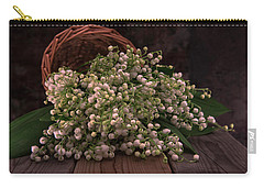 Carry-all Pouch featuring the photograph Basket Of Fresh Lily Of The Valley Flowers by Jaroslaw Blaminsky